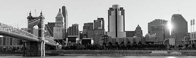 Photograph - Cincinnati Skyline At Sunrise Panoramic In Black And White by Gregory Ballos