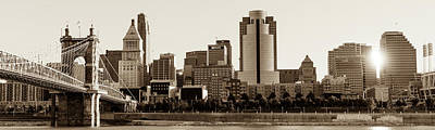 Photograph - Cincinnati Skyline At Sunrise Panoramic In Sepia by Gregory Ballos