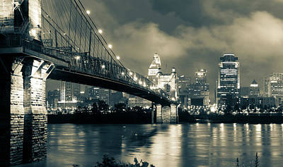 Photograph - Cincinnati Skyline At Twilight - Sepia Monochrome by Gregory Ballos