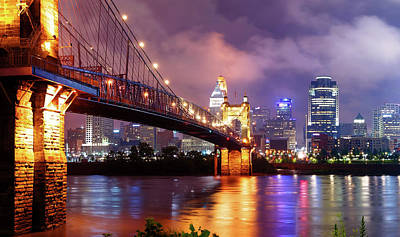 Photograph - Cincinnati Skyline At Twilight - Vibrant Color by Gregory Ballos