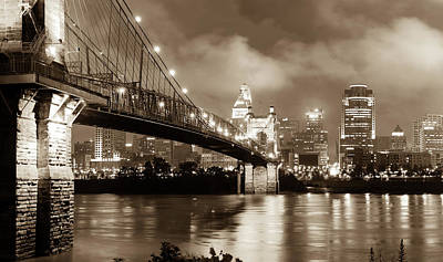 Photograph - Cincinnati Skyline At Twilight - Vintage Sepia Edition by Gregory Ballos