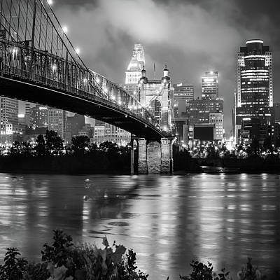 Cincinnati Skyline Black And White 1x1 Art Print by Gregory Ballos