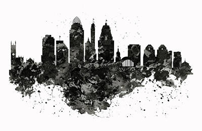 Mixed Media - Cincinnati Skyline Black And White by Marian Voicu