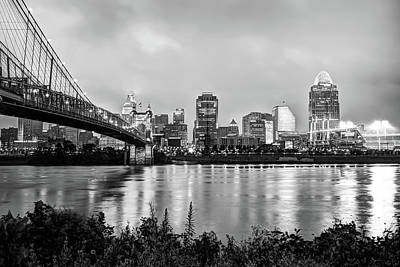 Photograph - Cincinnati Skyline Cityscape Art - Black And White by Gregory Ballos
