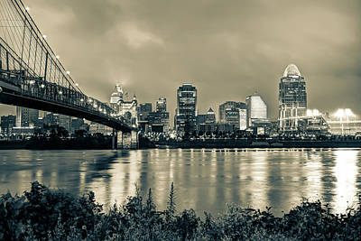 Photograph - Cincinnati Skyline Cityscape Art - Sepia by Gregory Ballos