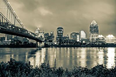 Cincinnati Photograph - Cincinnati Skyline Cityscape Art - Sepia by Gregory Ballos