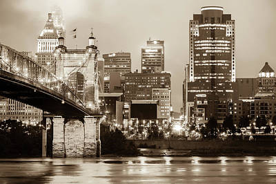 Photograph - Cincinnati Skyline Cityscape On The River - Sepia Edition by Gregory Ballos