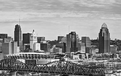Photograph - Cincinnati Skyline Clouds 2 Bw by Mel Steinhauer