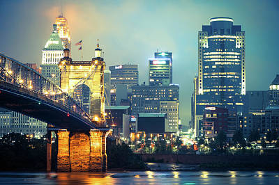Photograph - Cincinnati Skyline Down Town On The Ohio River by Gregory Ballos