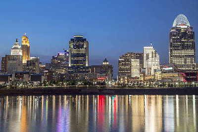 Photograph - Cincinnati Skyline During Blue Hour by John McGraw