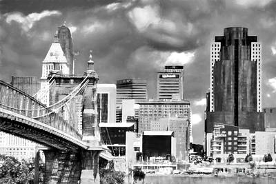 Photograph - Cincinnati Skyline In Black And White by Mel Steinhauer