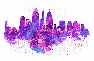 White Background Digital Art - Cincinnati Skyline by Marian Voicu