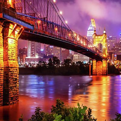 Skyline Photograph - Cincinnati Skyline On The River 1x1 by Gregory Ballos