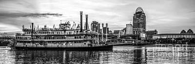 Riverboats Photograph - Cincinnati Skyline Panorama In Black And White by Paul Velgos