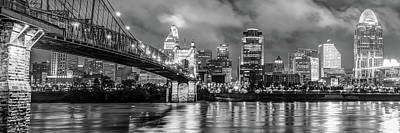 Print featuring the photograph Cincinnati Skyline Panorama Ohio River Reflections - Black White by Gregory Ballos