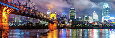 Print featuring the photograph Cincinnati Skyline Panorama Ohio River Reflections by Gregory Ballos