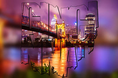 Photograph - Cincinnati Skyline - State Shape Blur by Gregory Ballos