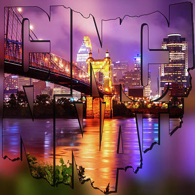 Photograph - Cincinnati Skyline - State Shape Blur Square Art by Gregory Ballos