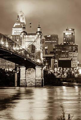 Photograph - Cincinnati Skyline Urban Cityscape - Sepia by Gregory Ballos