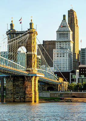 Photograph - Cincinnati Skyscrapers And Roebling Bridge by Gregory Ballos