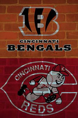 Baseball Mixed Media - Cincinnati Sports Brick Wall by Dan Sproul