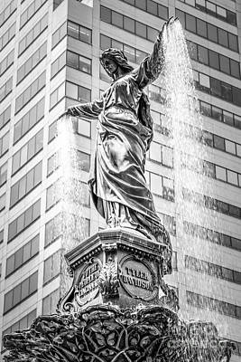 Ohio Photograph - Cincinnati Tyler Davidson Fountain Black And White Photo by Paul Velgos