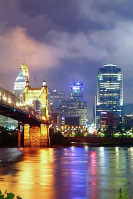 Photograph - Cincinnati Vertical Color Skyline Under Clouds by Gregory Ballos