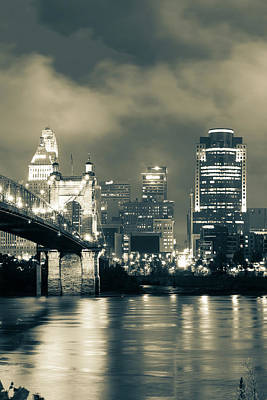 Photograph - Cincinnati Vertical Sepia Skyline Under Clouds by Gregory Ballos