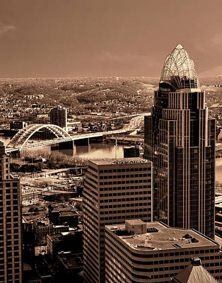Photograph - Cincinnati View  In Sepia by Phyllis Taylor