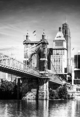 Photograph - Cincinnati's Suspension Bridge Bw by Mel Steinhauer
