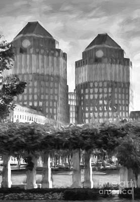 Cincinnati's Twin Towers Black And White Art Print by Mel Steinhauer