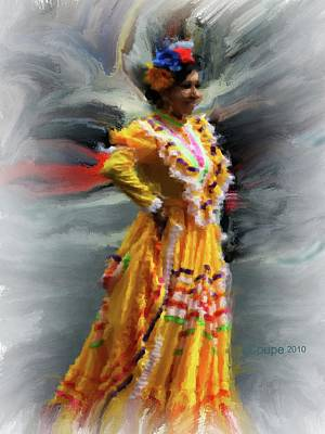 Cinco De Mayo Mixed Media - Cinco De Mayo Lady In Yellow by Donna Coupe