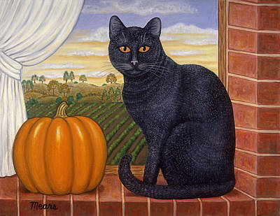 Cat Painting - Cinder The Cat by Linda Mears