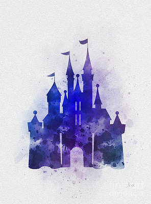 Mixed Media - Cinderella Castle Blue by Rebecca Jenkins