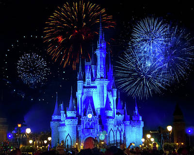 Photograph - Cinderella Castle Fireworks by Mark Andrew Thomas