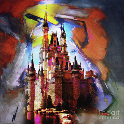 Fireworks Painting - Cinderella Castle by Gull G