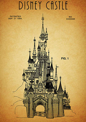 Drawing - Cinderella Castle Patent by Dan Sproul