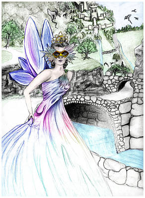 Ball Gown Drawing - Fairytales Of Dragon Pass Castle, Costume Balls And Cinderella by Janice Moore