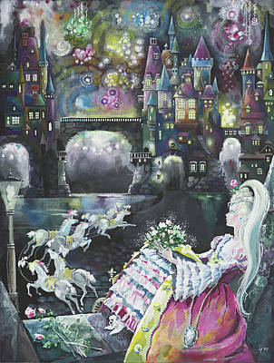Cinderella Castle Painting - Cinderella. Happy End. by Larisa Yerastova