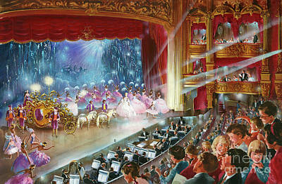 Ballet Dancers On The Stage Painting - Cinderella by John Worsley