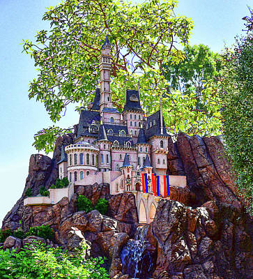 Magic Kingdom Digital Art - Cinderellas Castle 5 Painterly Cropped  by Linda Brody