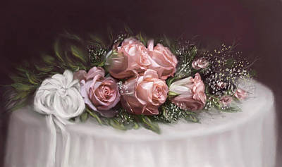 Art Print featuring the painting Spray Of  Roses by Bonnie Willis