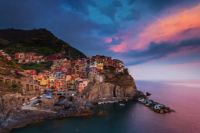 Photograph - Cinque Terre At Dusk by Andrew Soundarajan