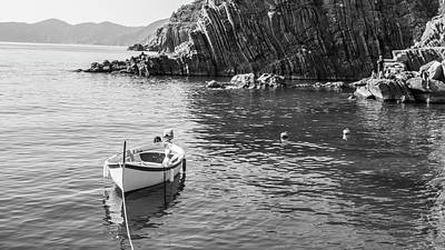 Photograph - Cinque Terre Boat And Rocks  by John McGraw