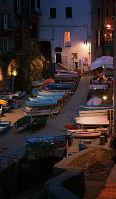 Photograph - Cinque Terre Boats At Night by Joan Carroll
