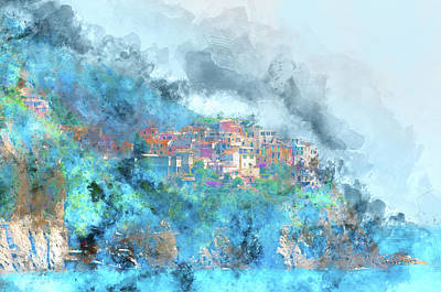 Photograph - Cinque Terre Buildings In Italy by Brandon Bourdages