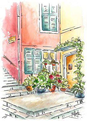 Mediterranean Village Painting - Cinque Terre Doorstep by Pat Katz