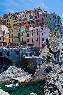 Cinque Terre Harbor And Town Art Print by Roger Mullenhour