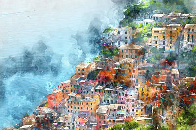 Old Town Digital Art - Cinque Terre In Italy by Brandon Bourdages