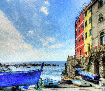 Digital Art - Cinque Terre - Little Port Of Riomaggiore - Painting by Weston Westmoreland